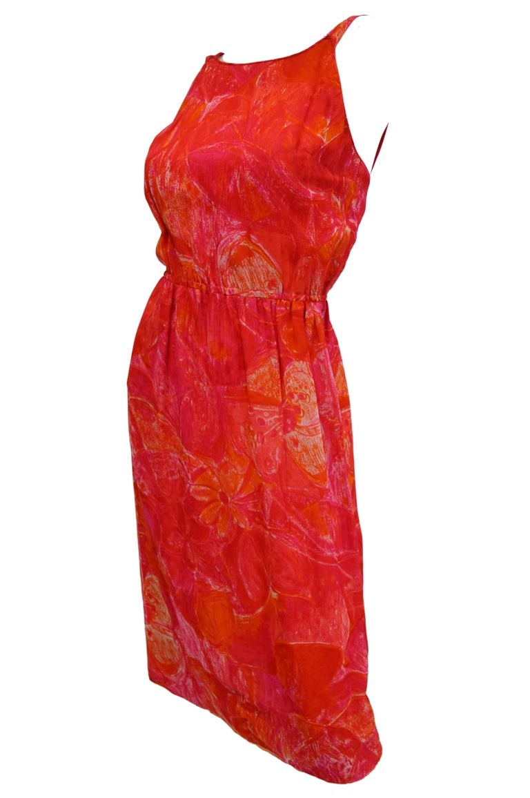 Red 1960s Pierre Cardin Cerise Silk Dress and Cape For Sale