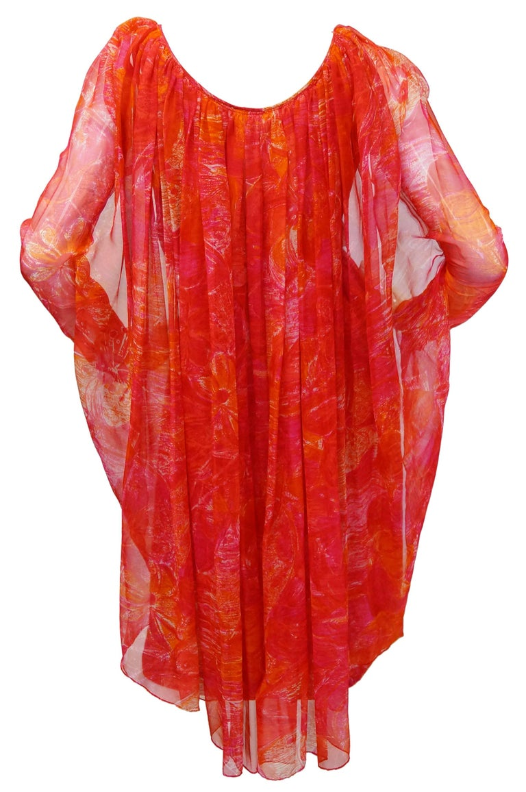1960s Pierre Cardin Cerise Silk Dress and Cape For Sale 3