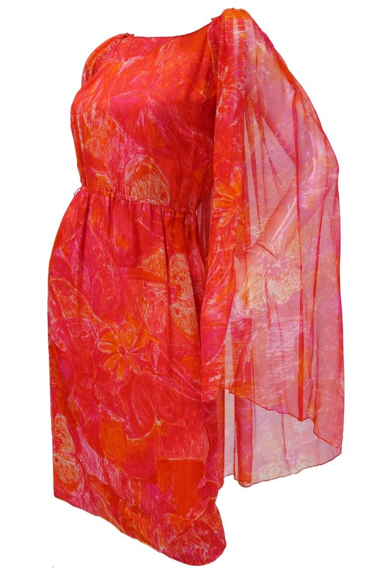 1960s Pierre Cardin Cerise Silk Dress and Cape For Sale 1