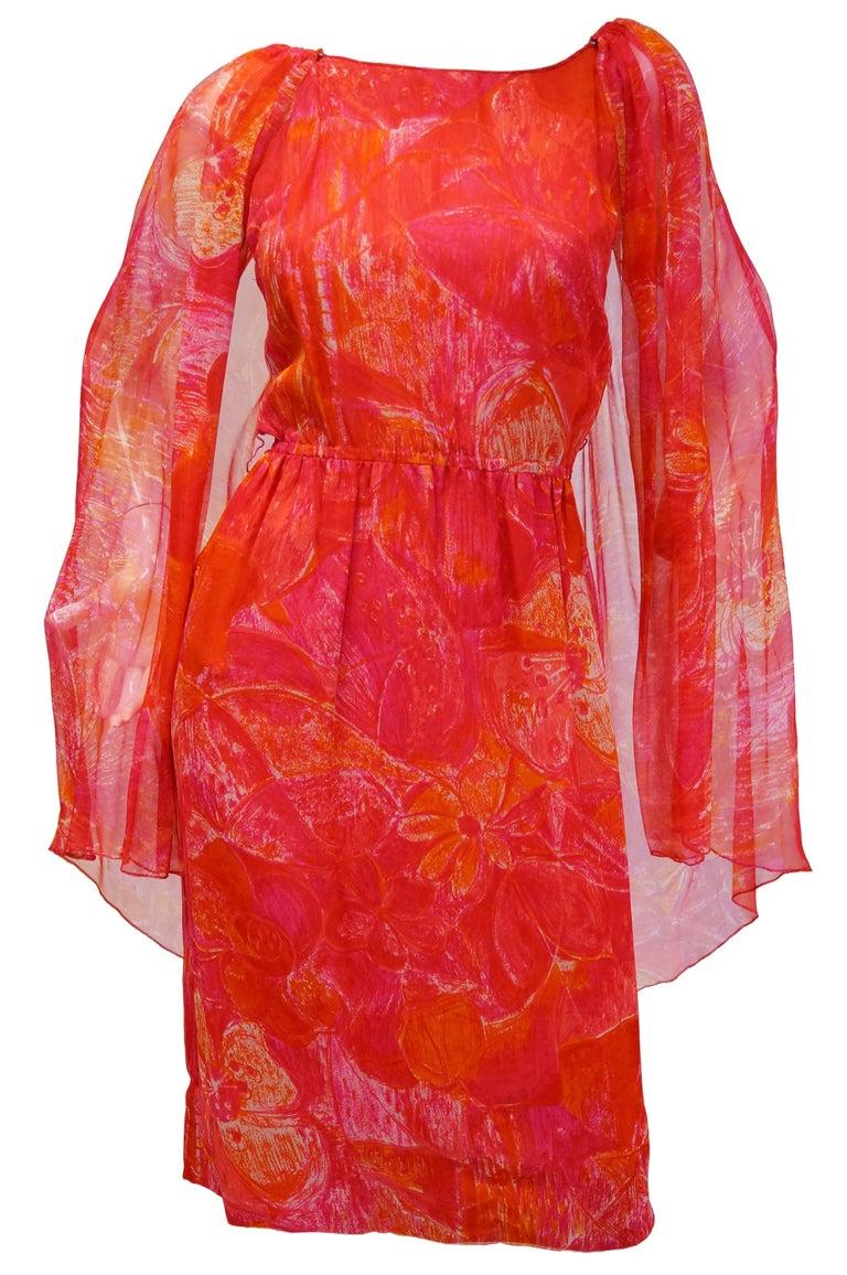 Women's 1960s Pierre Cardin Cerise Silk Dress and Cape For Sale