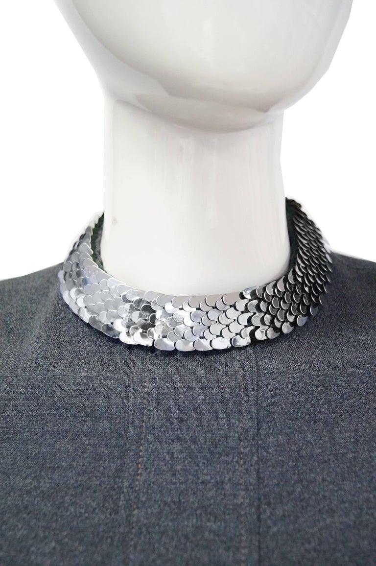 Women's 1970s Geoffrey Beene Space Gray Shift Dress with Metallic Details For Sale
