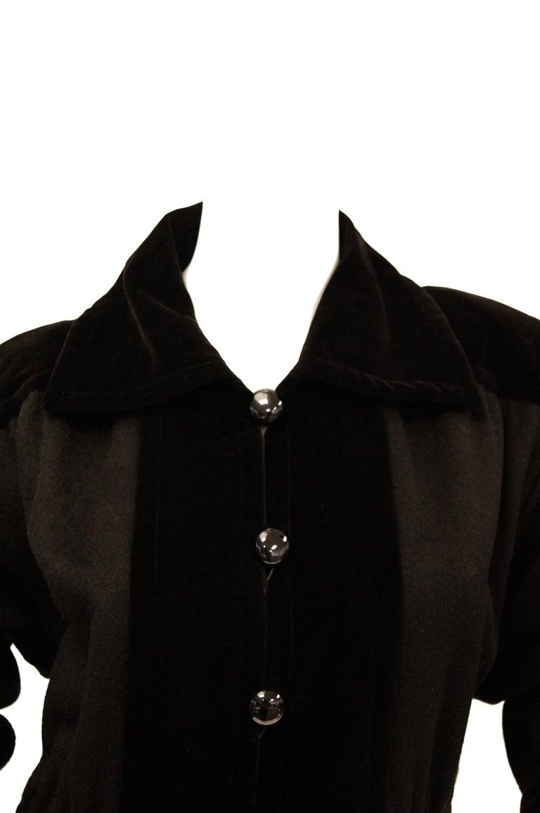 Women's Yves Saint Laurent Russian Collection Wool with Velvet Black Coat L/XL, 1970s  For Sale