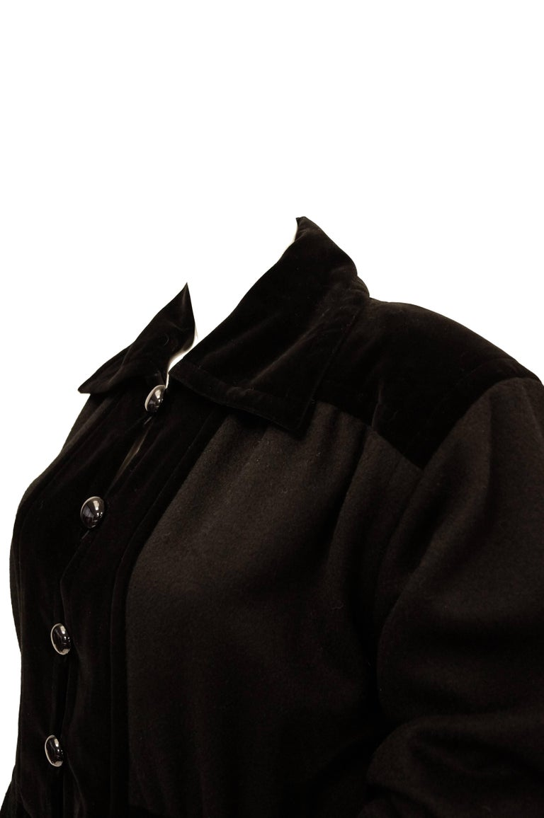 Yves Saint Laurent Russian Collection Wool with Velvet Black Coat L/XL, 1970s  For Sale 1