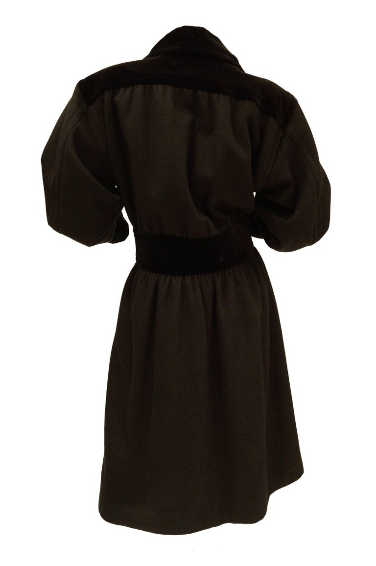 Yves Saint Laurent Russian Collection Wool with Velvet Black Coat L/XL, 1970s  In Excellent Condition For Sale In Houston, TX