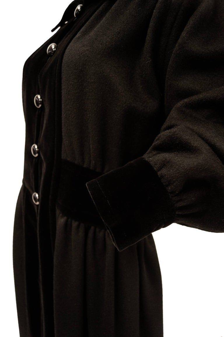 Yves Saint Laurent Russian Collection Wool with Velvet Black Coat L/XL, 1970s  For Sale 2