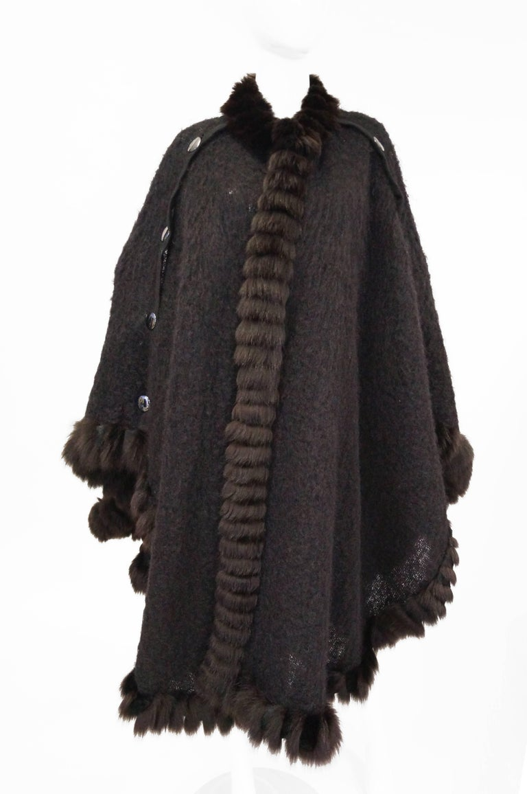 1970s Yves Saint Laurent Wool and Fox Button Cape For Sale 1