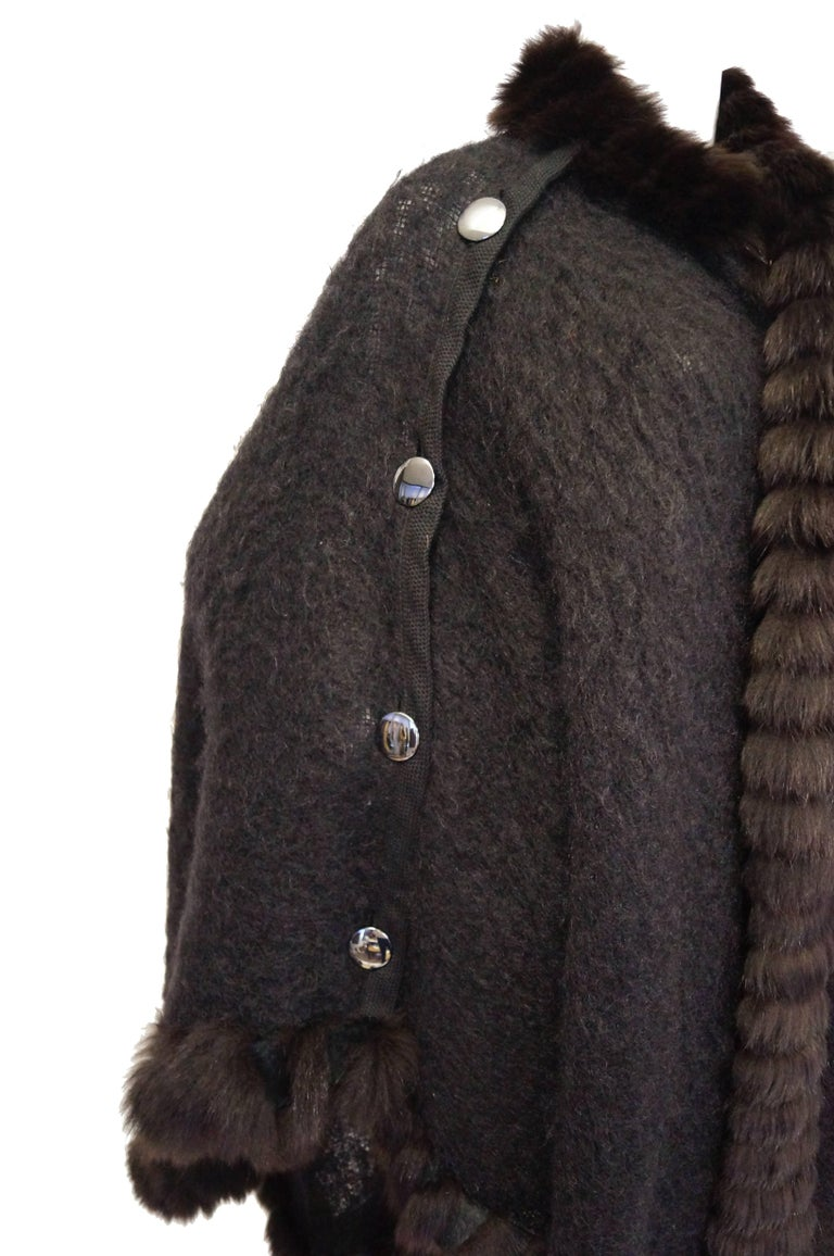 1970s Yves Saint Laurent Wool and Fox Button Cape For Sale 2