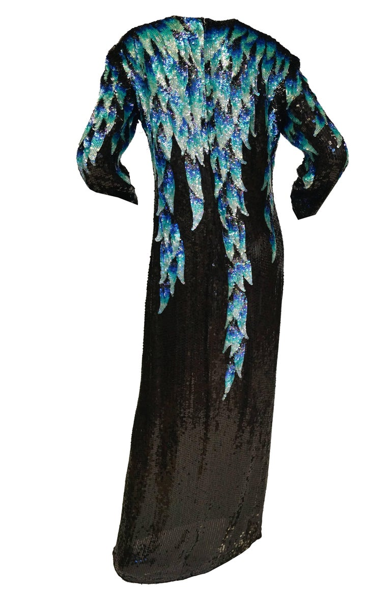 1980 Halston Silk Dress w/ Iridescent Sequins  In Excellent Condition For Sale In Houston, TX