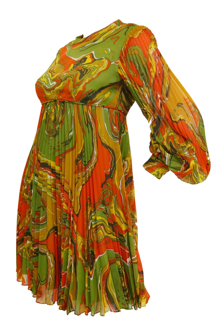 Brown Leo Narducci Multicolor Ebru Marbling Print Dress, 1960s  For Sale