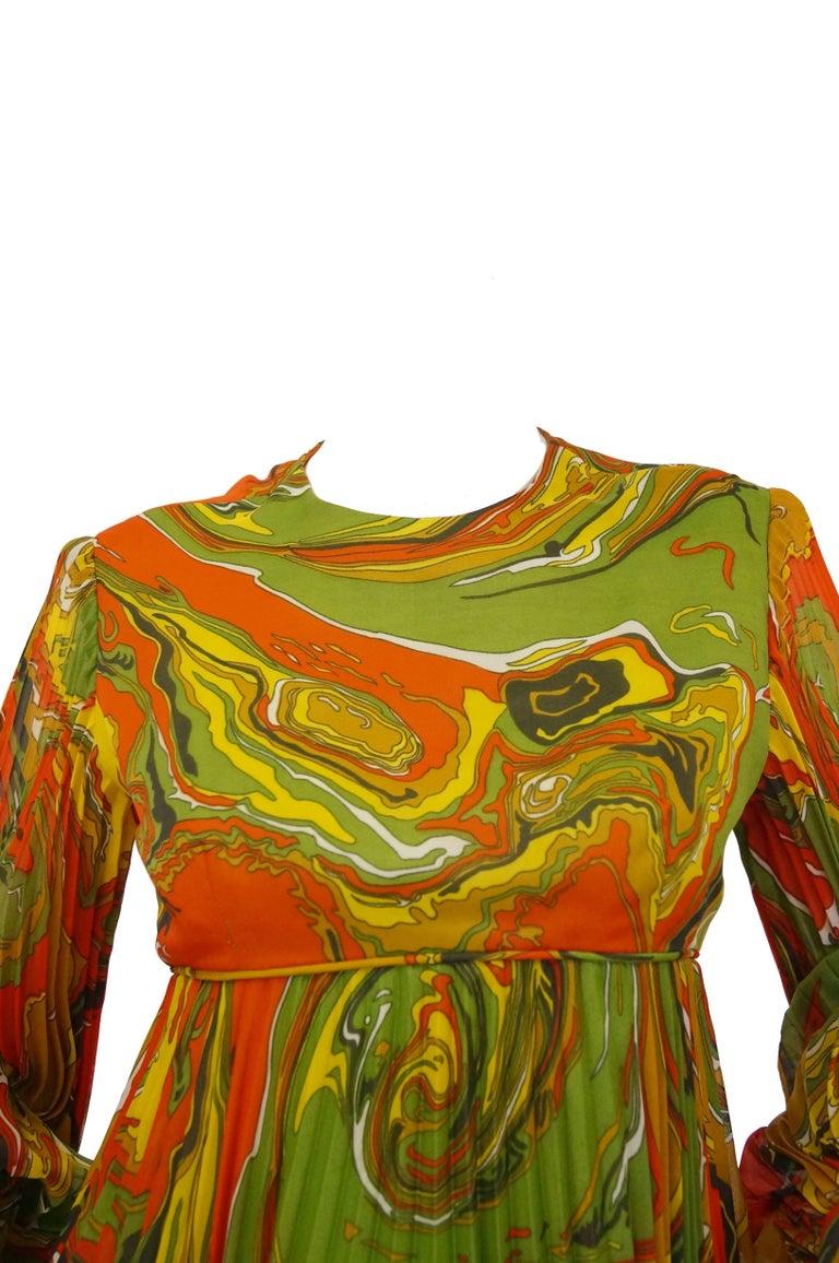 Leo Narducci Multicolor Ebru Marbling Print Dress 1960s