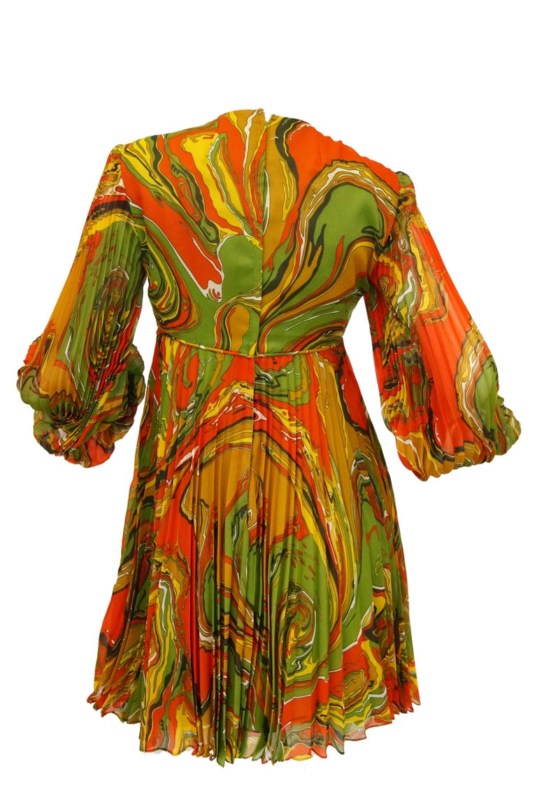 Women's or Men's Leo Narducci Multicolor Ebru Marbling Print Dress, 1960s  For Sale