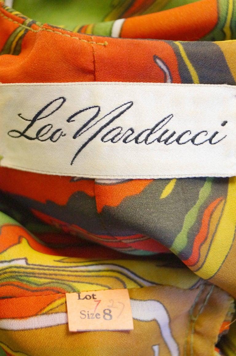 Leo Narducci Multicolor Ebru Marbling Print Dress, 1960s  For Sale 1
