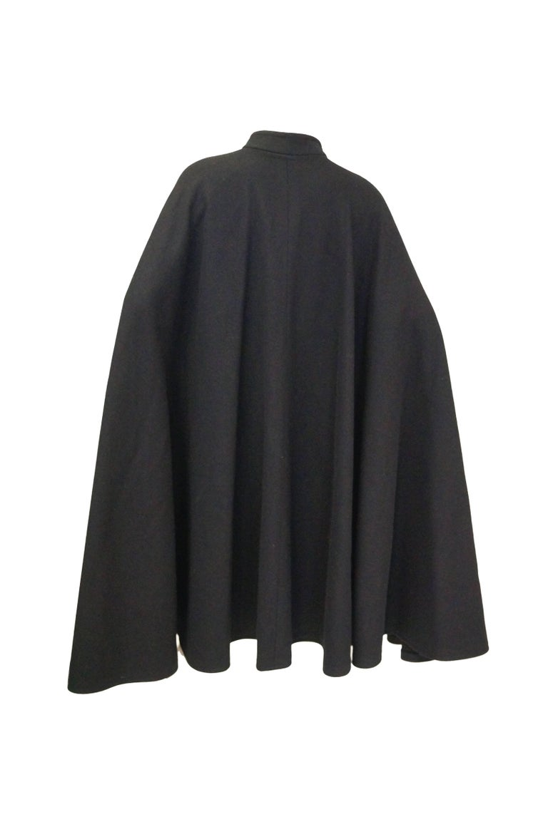 Women's or Men's 1970s Yves Saint Laurent Mandarin Collar Black Wool Cape For Sale