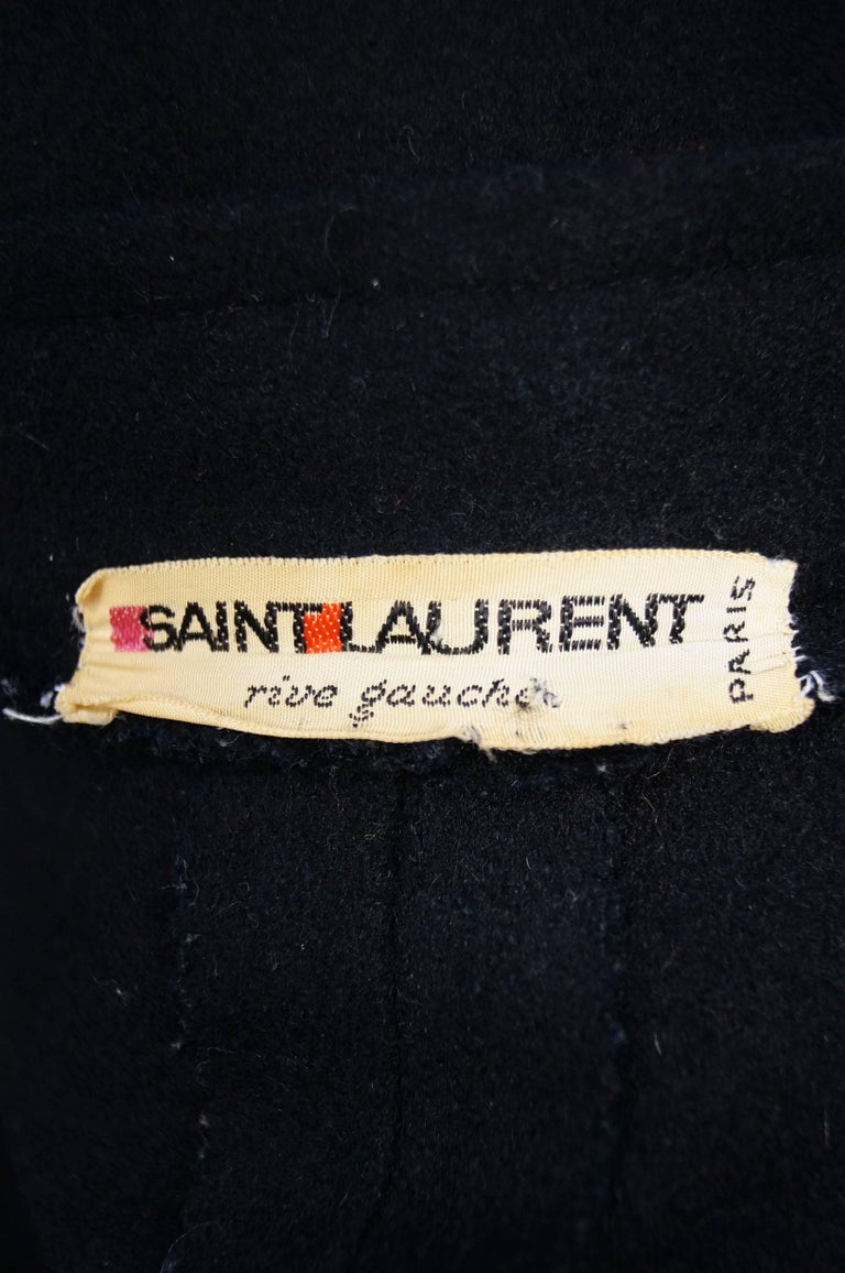 1970s Yves Saint Laurent Mandarin Collar Black Wool Cape For Sale 1