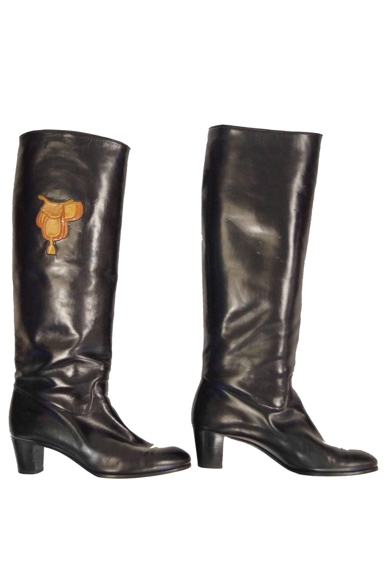1980s Gucci Black Leather Equestrian