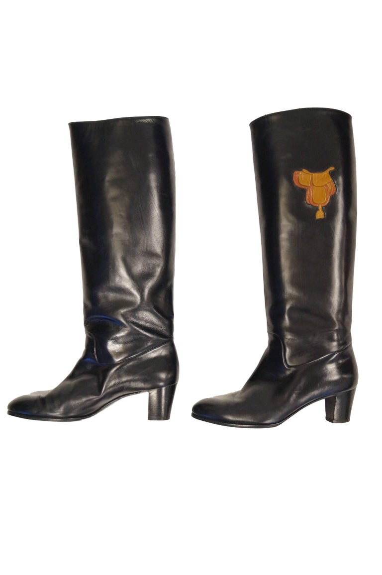 Women's 1980s Gucci Black Leather Equestrian