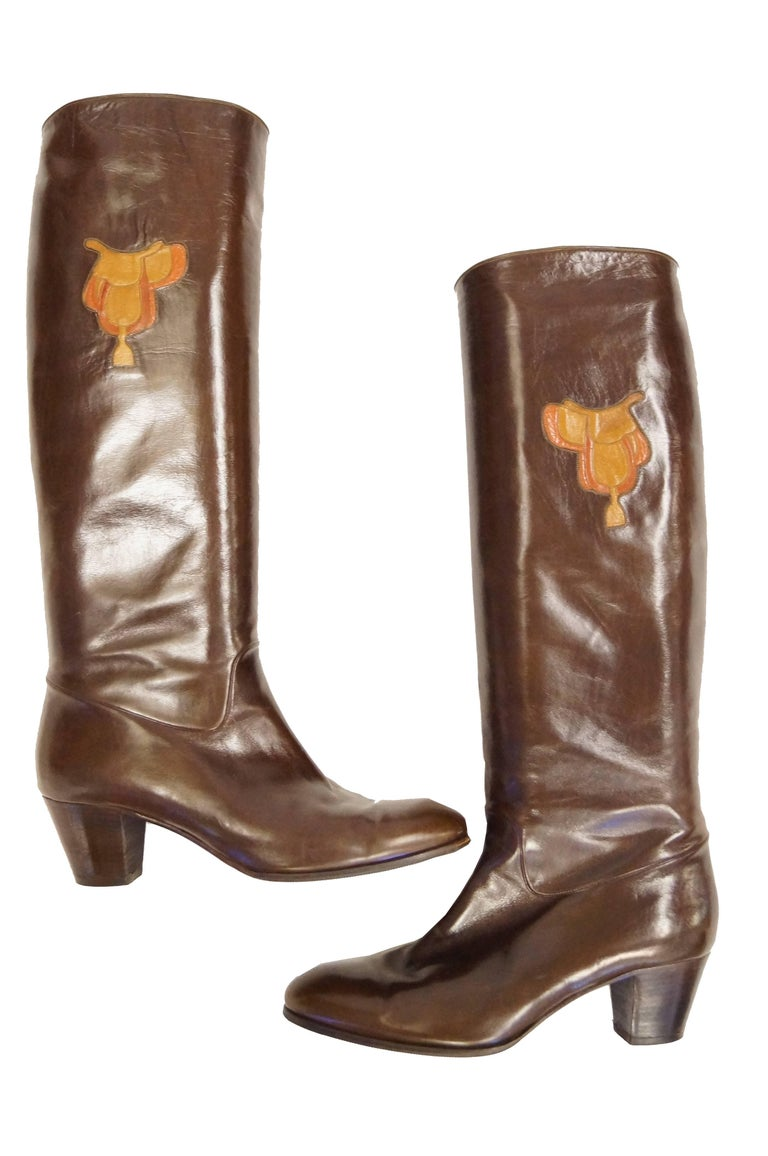 Brown Gucci Mahogany Leather Saddle Applique Boots, 1980s  For Sale