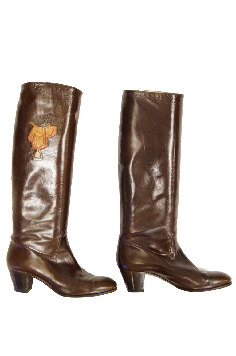 Women's Gucci Mahogany Leather Saddle Applique Boots, 1980s  For Sale