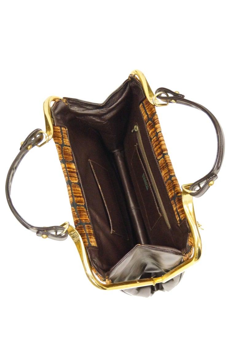 1960s Roberta di Camerino Amber Reptile Cut Velvet Handbag For Sale 1