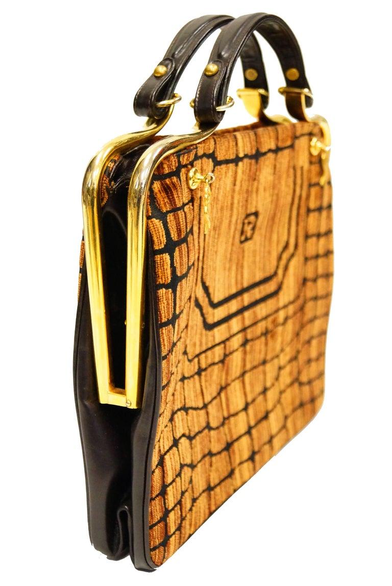 Brown 1960s Roberta di Camerino Amber Reptile Cut Velvet Handbag For Sale