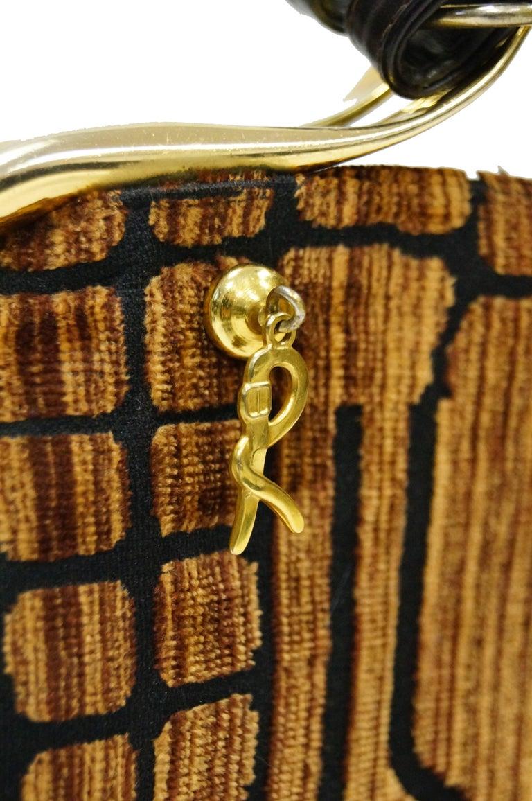 1960s Roberta di Camerino Amber Reptile Cut Velvet Handbag 2