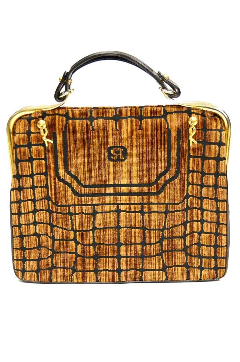 1960s Roberta di Camerino Amber Reptile Cut Velvet Handbag In Excellent Condition For Sale In Houston, TX