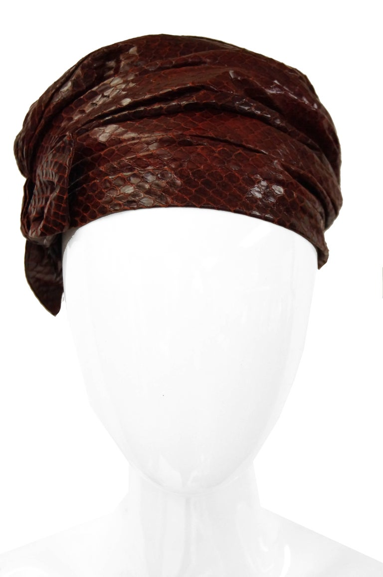 Women's  Neiman Marcus Custom Sienna Snakeskin Turban, 1950s  For Sale