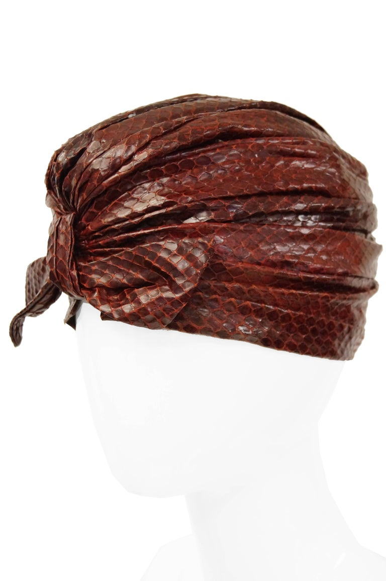 Brown  Neiman Marcus Custom Sienna Snakeskin Turban, 1950s  For Sale