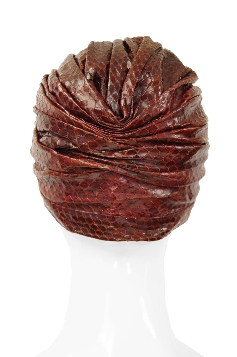 Neiman Marcus Custom Sienna Snakeskin Turban, 1950s  In Excellent Condition For Sale In Houston, TX