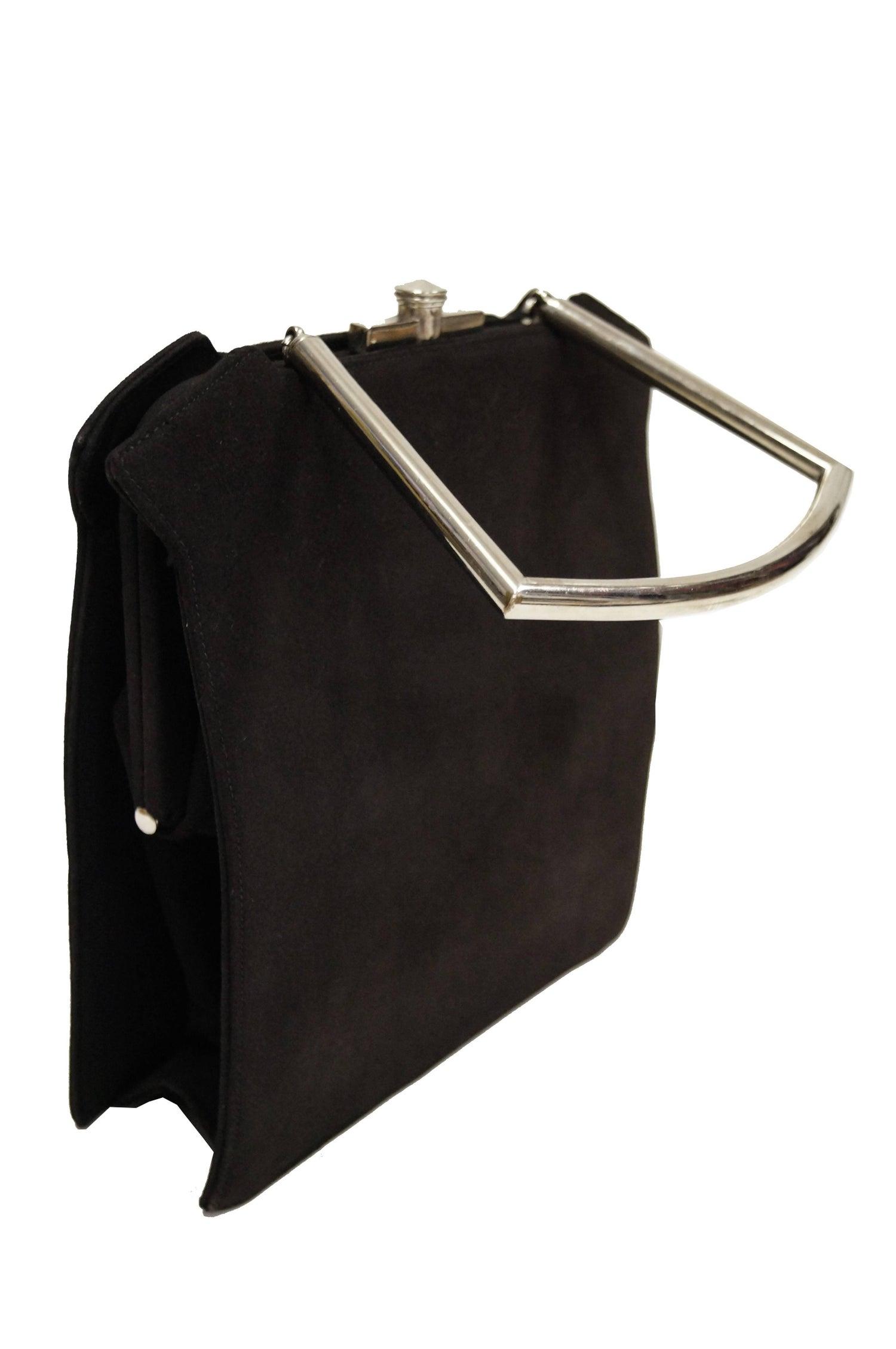 Eisenberg Rare 1940s Eisenberg Rhinestone Black Ultra Suede Handbag 6SO9Y