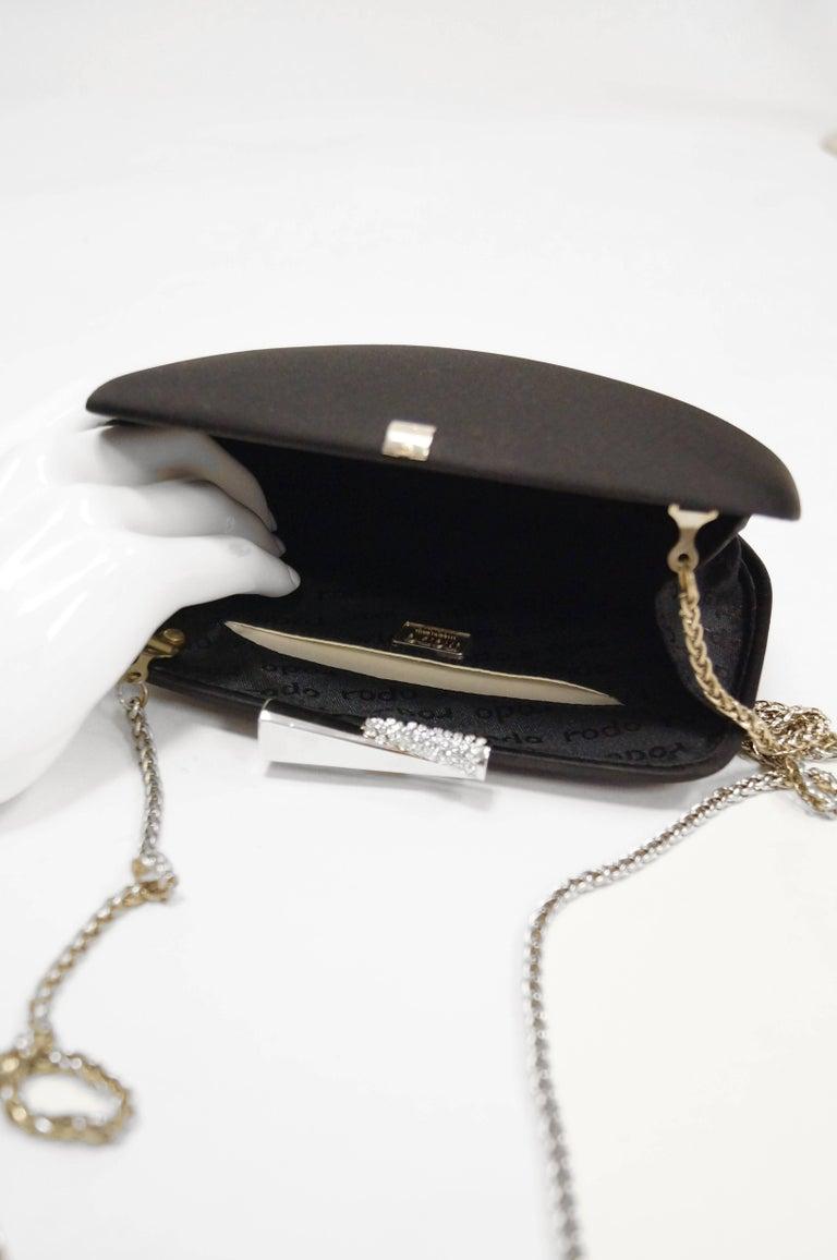 1980s Rodo Black Silk and Rhinestone Bow Clutch For Sale 1