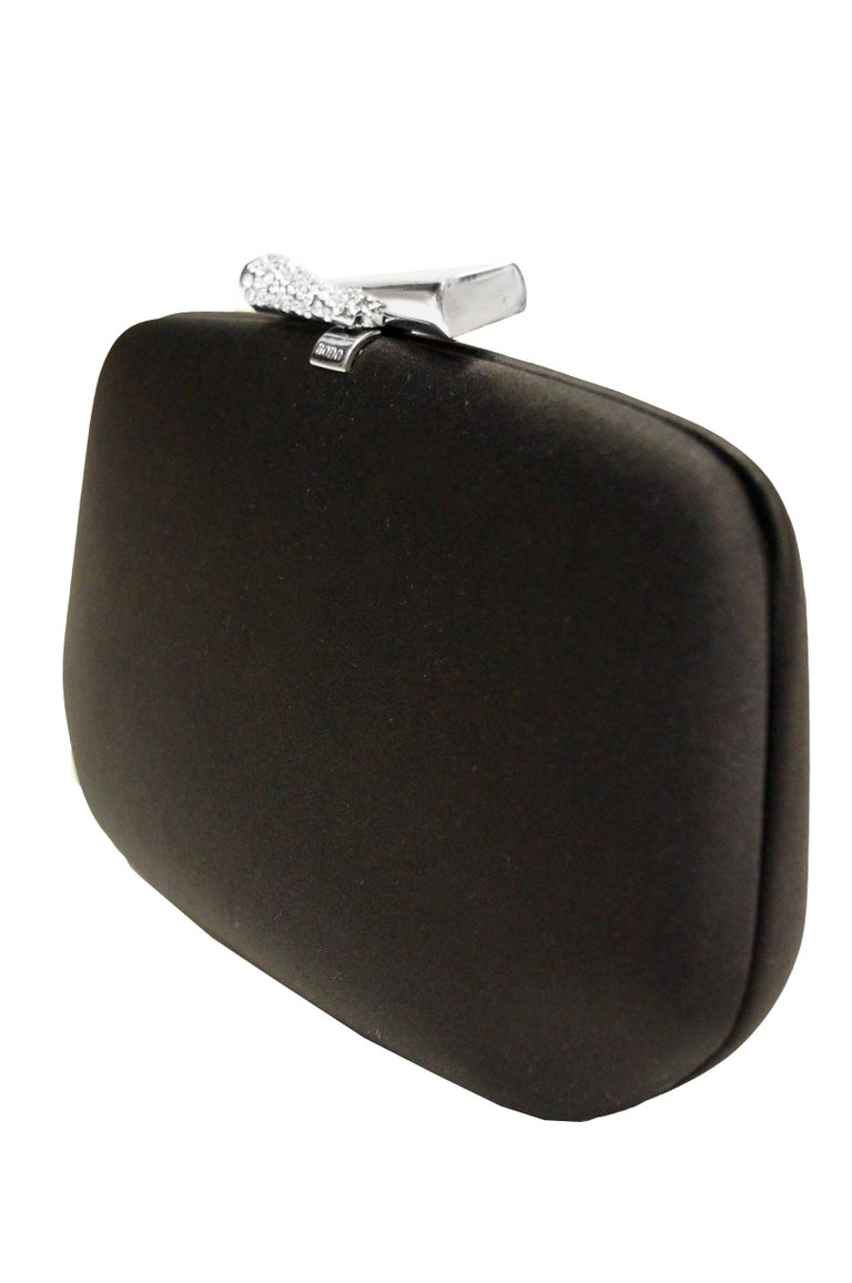 1980s Rodo Black Silk and Rhinestone Bow Clutch In Excellent Condition For Sale In Houston, TX