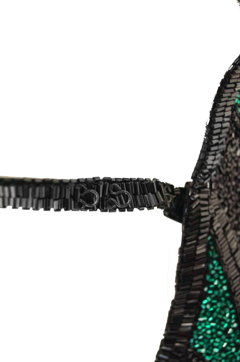 Bob Mackie Beaded Black Blue and Green Diamond Cocktail Dress Size 6, 1990s 9