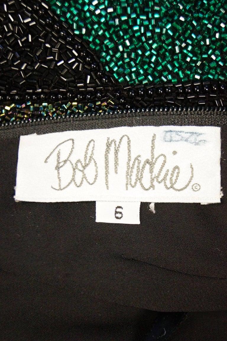 Bob Mackie Beaded Black Blue and Green Diamond Cocktail Dress Size 6, 1990s 10