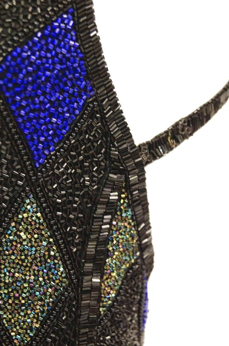 Bob Mackie Beaded Black Blue and Green Diamond Cocktail Dress Size 6, 1990s 7