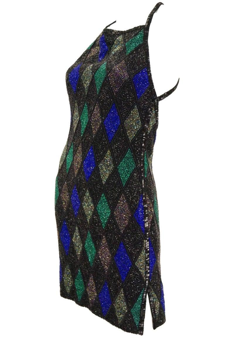 Bob Mackie Beaded Black Blue and Green Diamond Cocktail Dress Size 6, 1990s 4