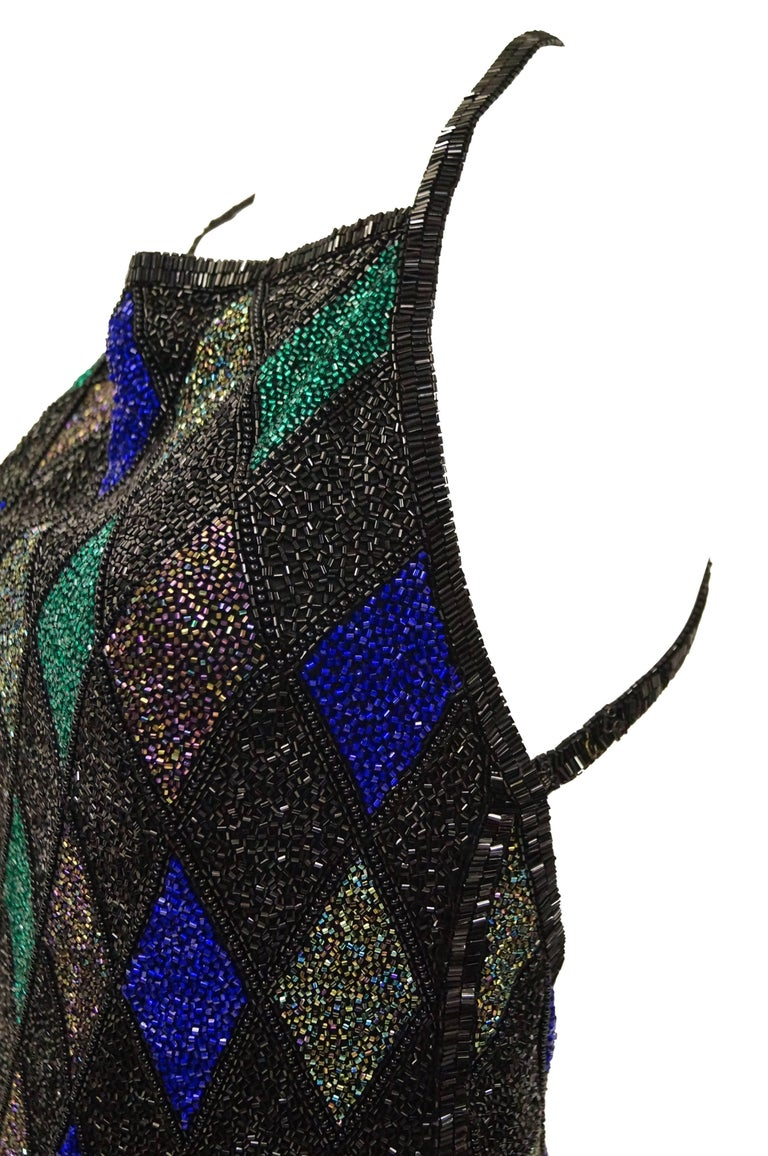 Bob Mackie Beaded Black Blue and Green Diamond Cocktail Dress Size 6, 1990s 6