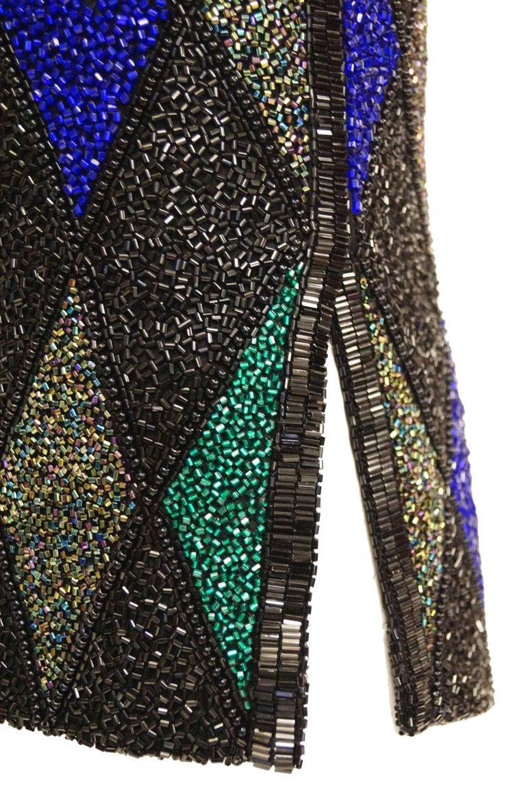 Bob Mackie Beaded Black Blue and Green Diamond Cocktail Dress Size 6, 1990s 5