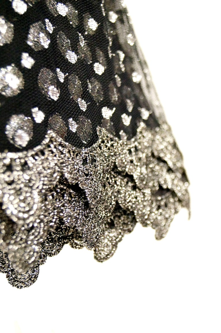 1990s Geoffrey Beene Black and Silver Metallic Polka Dot Dress 6-8 For Sale 2