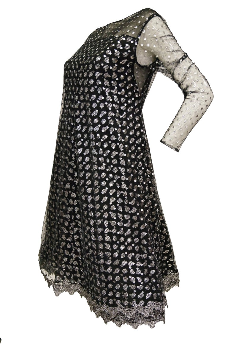 1990s Geoffrey Beene Black and Silver Metallic Polka Dot Dress 6-8 For Sale 3