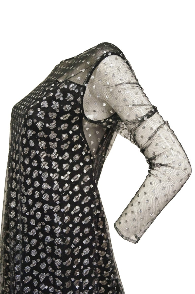 Women's 1990s Geoffrey Beene Black and Silver Metallic Polka Dot Dress 6-8 For Sale