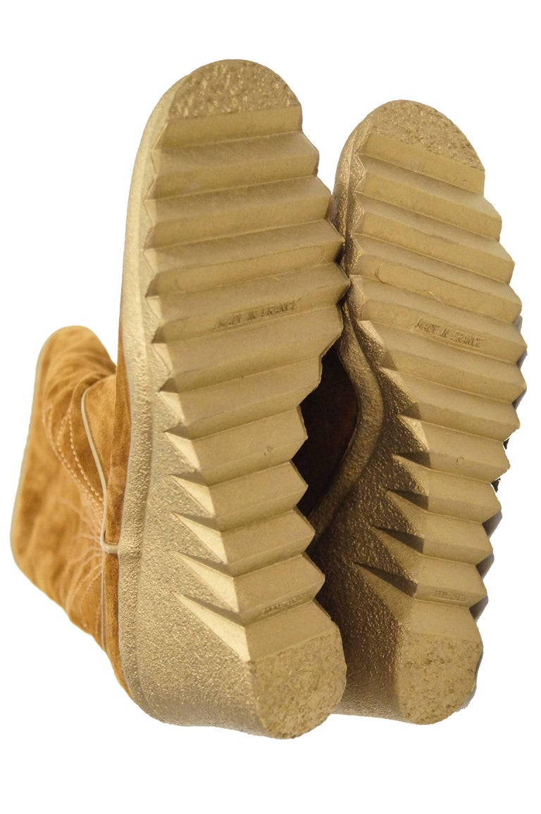 7843e17c318 Charles Jourdan Vintage Chestnut Suede Wedge Sunrise Stitch Boots, Size 8  1/2