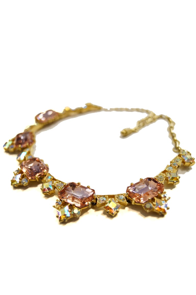 1960s Elsa Schiaparelli Iridescent Pink Rhinestone Necklace  In Excellent Condition For Sale In Houston, TX