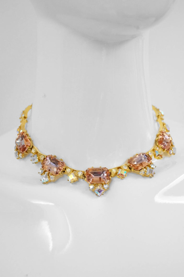 1960s Elsa Schiaparelli Iridescent Pink Rhinestone Necklace  For Sale 1