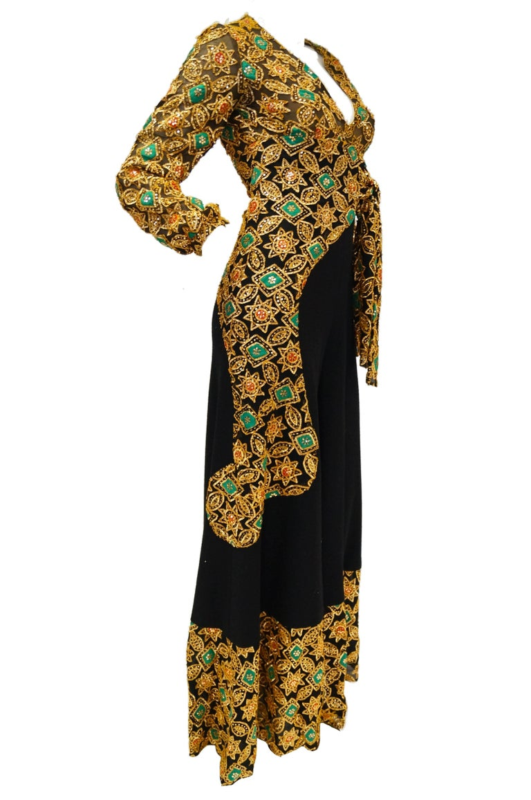 1970s Cardinali Couture Sequin Swirl Wool Knit Jumpsuit  4 For Sale 1