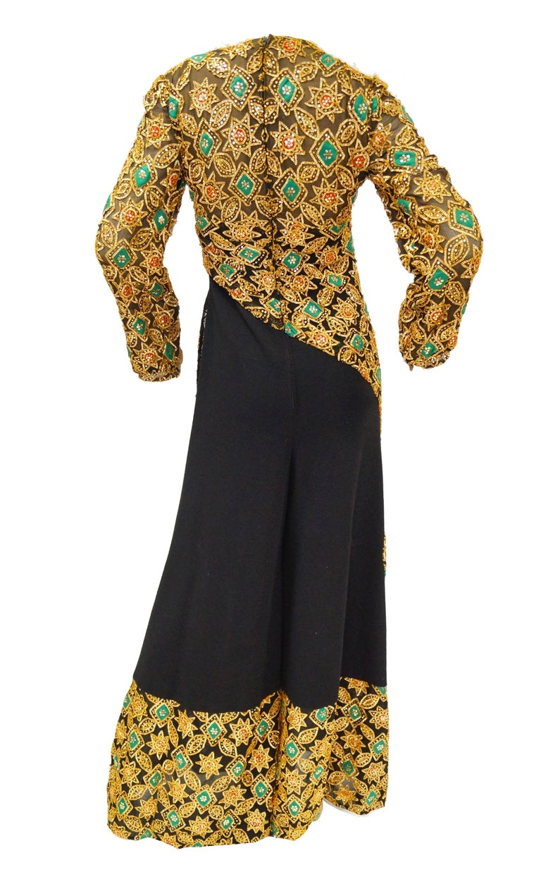 Women's  1970s Cardinali Couture Sequin Swirl Wool Knit Jumpsuit  4 For Sale