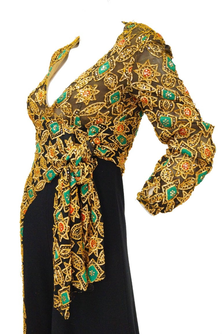 1970s Cardinali Couture Sequin Swirl Wool Knit Jumpsuit  4 In Excellent Condition For Sale In Houston, TX