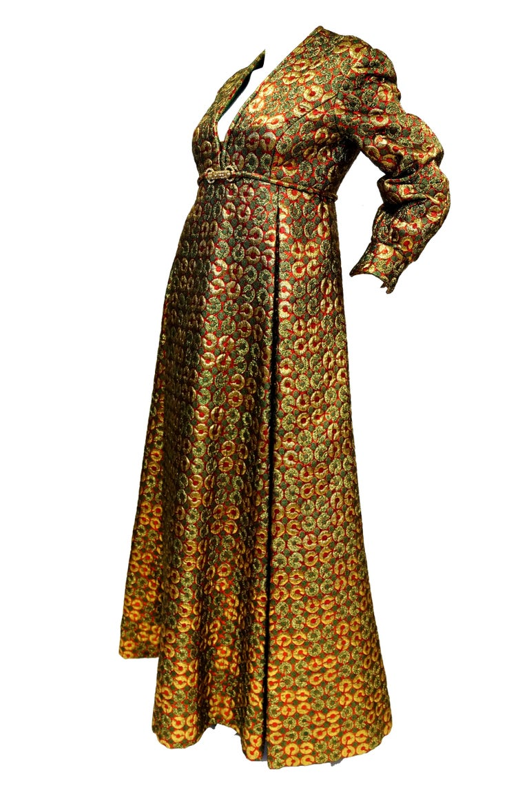 1970s Malcolm Starr Gold Green Metallic Maxi Dress  In Excellent Condition For Sale In Houston, TX