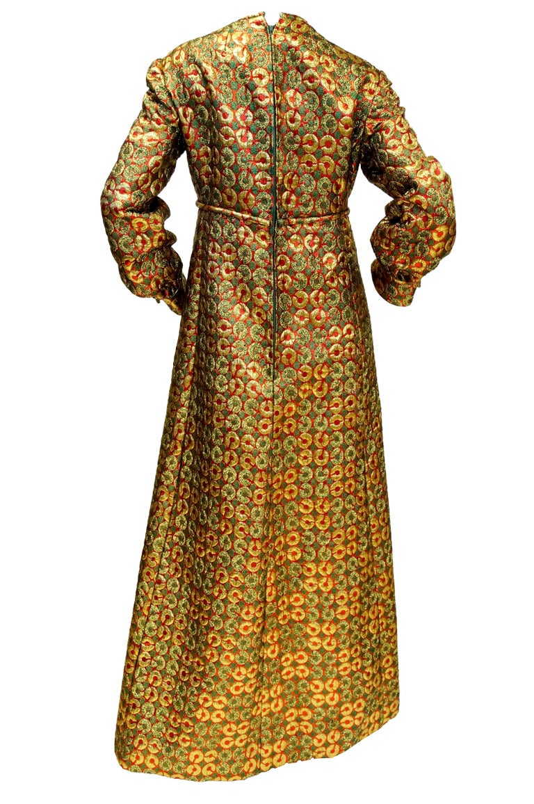 Women's 1970s Malcolm Starr Gold Green Metallic Maxi Dress  For Sale