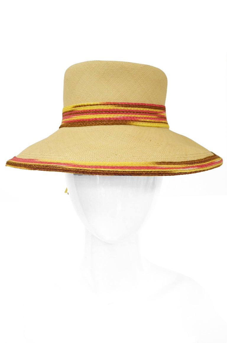 Yves Saint Laurent Colorful Tassel Sun Hat, S 1970s  In Excellent Condition For Sale In Houston, TX